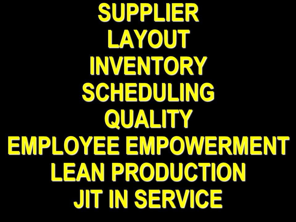 SUPPLIER LAYOUT INVENTORY SCHEDULING QUALITY EMPLOYEE EMPOWERMENT LEAN PRODUCTION JIT IN SERVICE