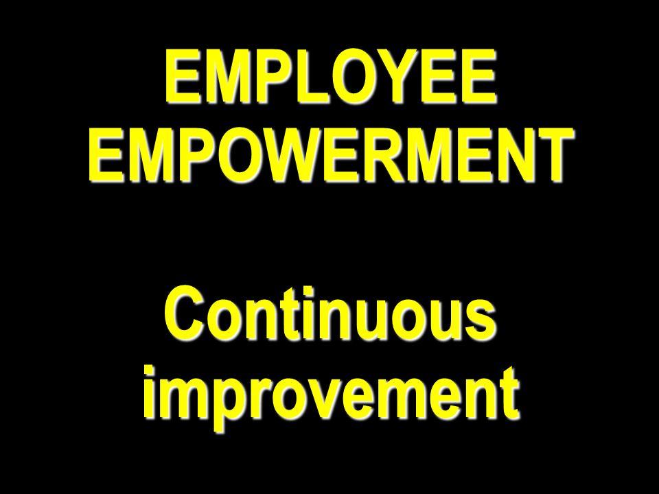 EMPLOYEE EMPOWERMENT Continuous improvement
