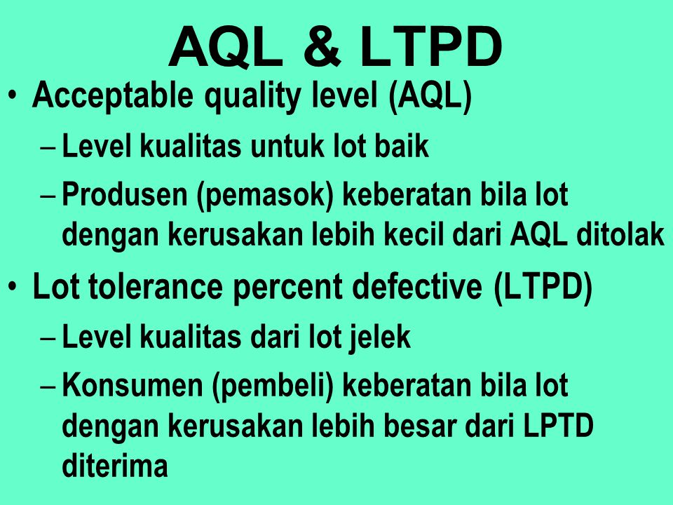 AQL & LTPD Acceptable quality level (AQL)