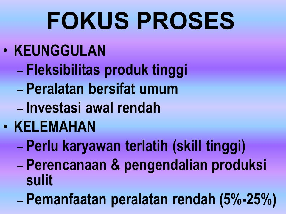 FOKUS PROSES KEUNGGULAN Fleksibilitas produk tinggi