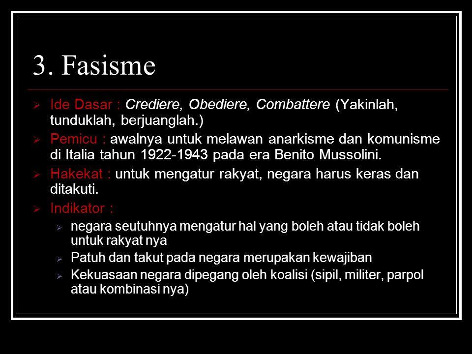 3. Fasisme Ide Dasar : Crediere, Obediere, Combattere (Yakinlah, tunduklah, berjuanglah.)
