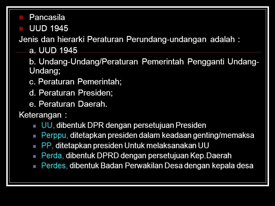 Jenis dan hierarki Peraturan Perundang-undangan adalah : a. UUD 1945