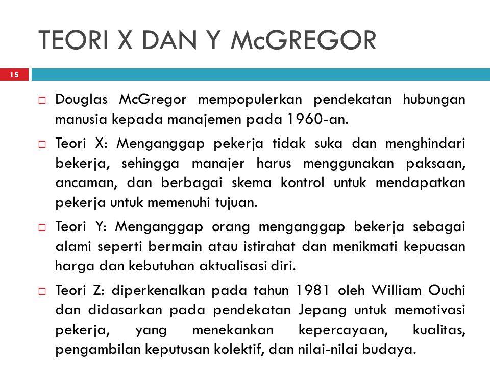 TEORI X DAN Y McGREGOR Douglas McGregor mempopulerkan pendekatan hubungan manusia kepada manajemen pada 1960-an.