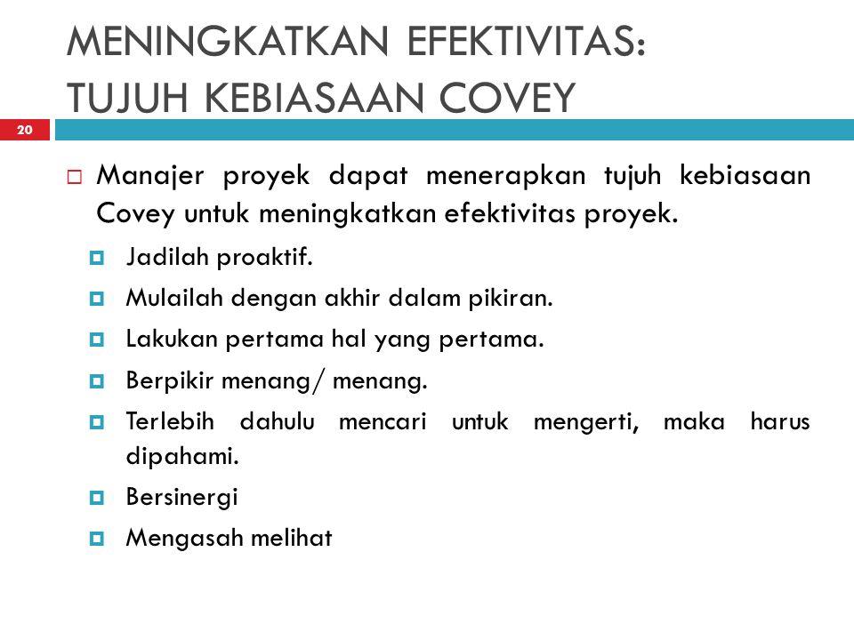 MENINGKATKAN EFEKTIVITAS: TUJUH KEBIASAAN COVEY