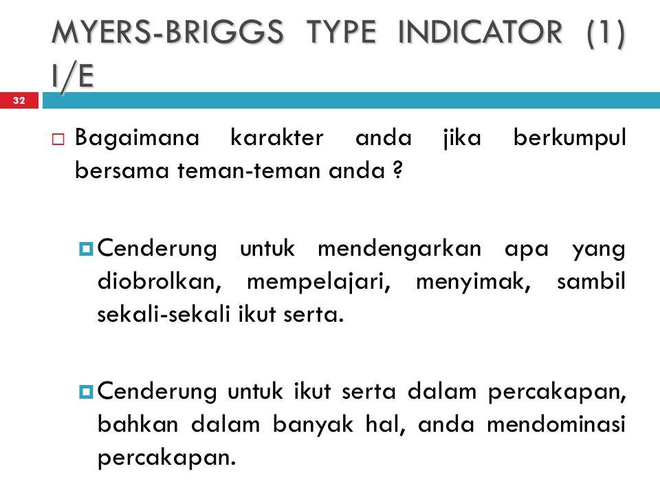 MYERS-BRIGGS TYPE INDICATOR (1) I/E