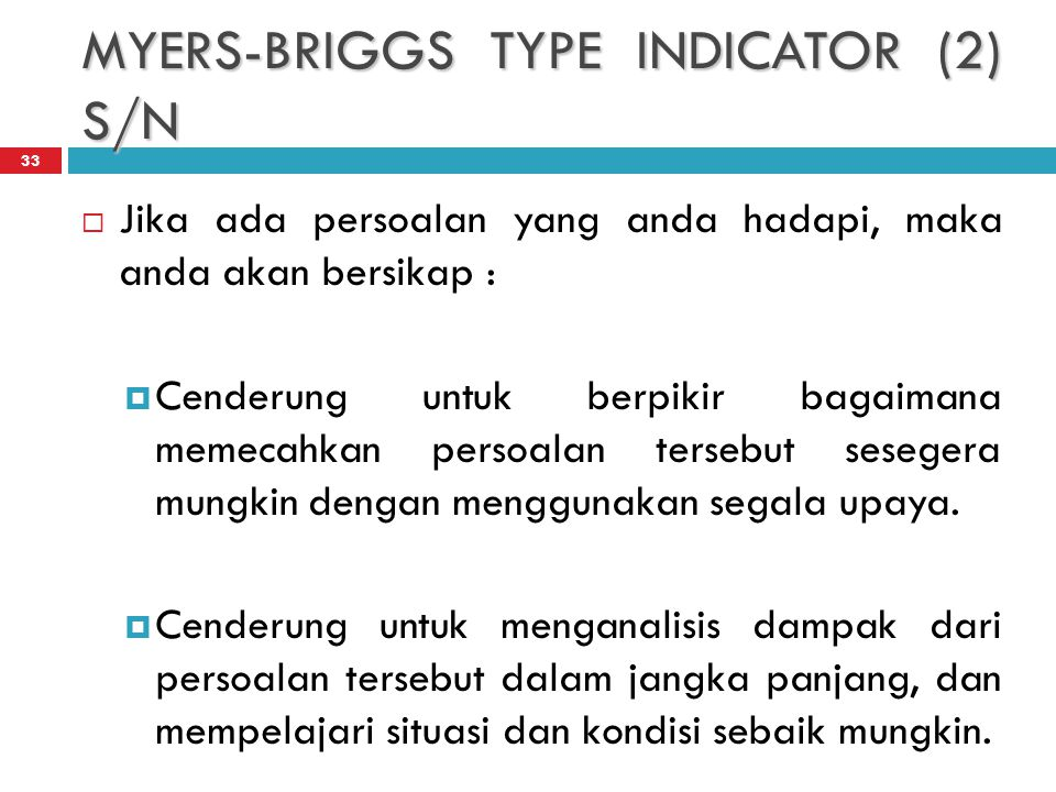 MYERS-BRIGGS TYPE INDICATOR (2) S/N