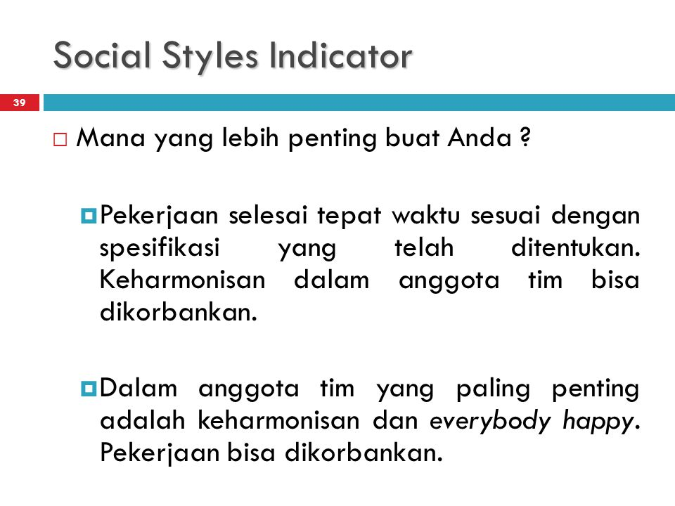 Social Styles Indicator