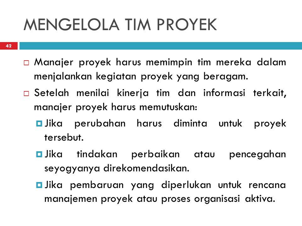 MENGELOLA TIM PROYEK Manajer proyek harus memimpin tim mereka dalam menjalankan kegiatan proyek yang beragam.