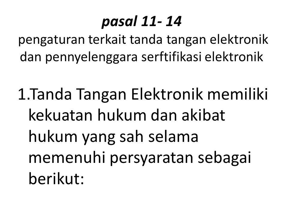 pasal 11- 14 pengaturan terkait tanda tangan elektronik dan pennyelenggara serftifikasi elektronik