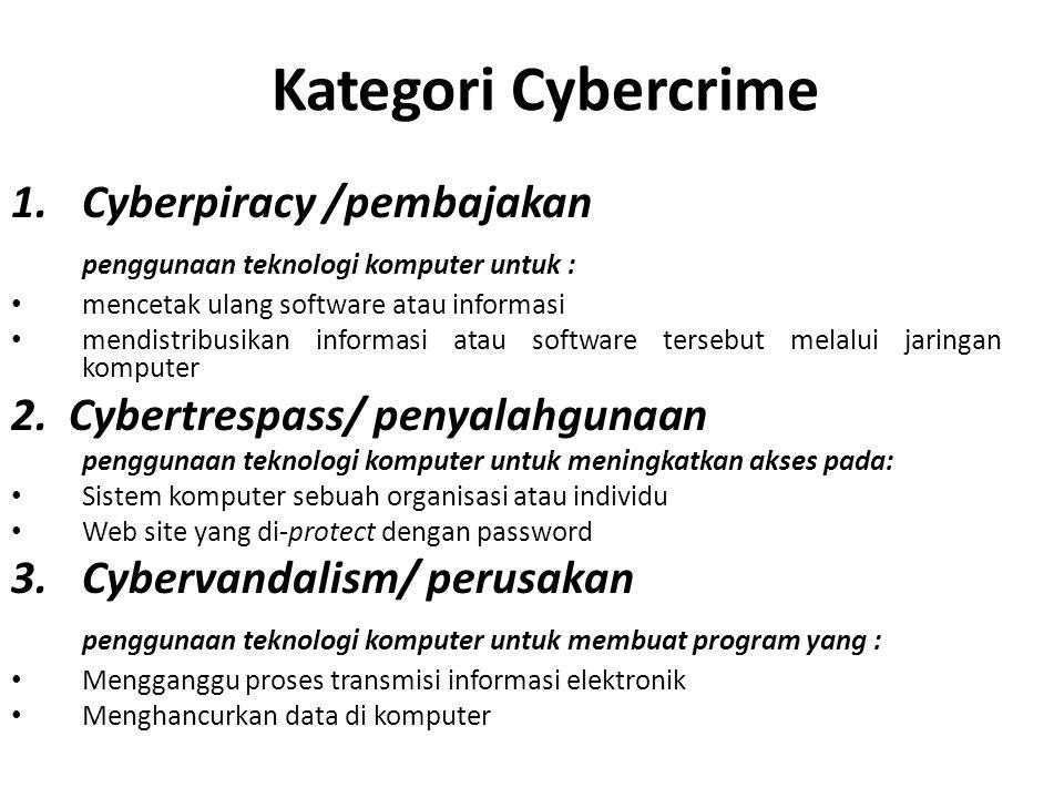 Kategori Cybercrime Cyberpiracy /pembajakan