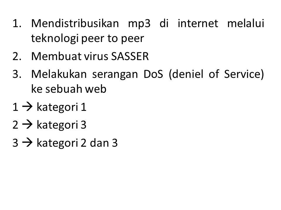 Mendistribusikan mp3 di internet melalui teknologi peer to peer