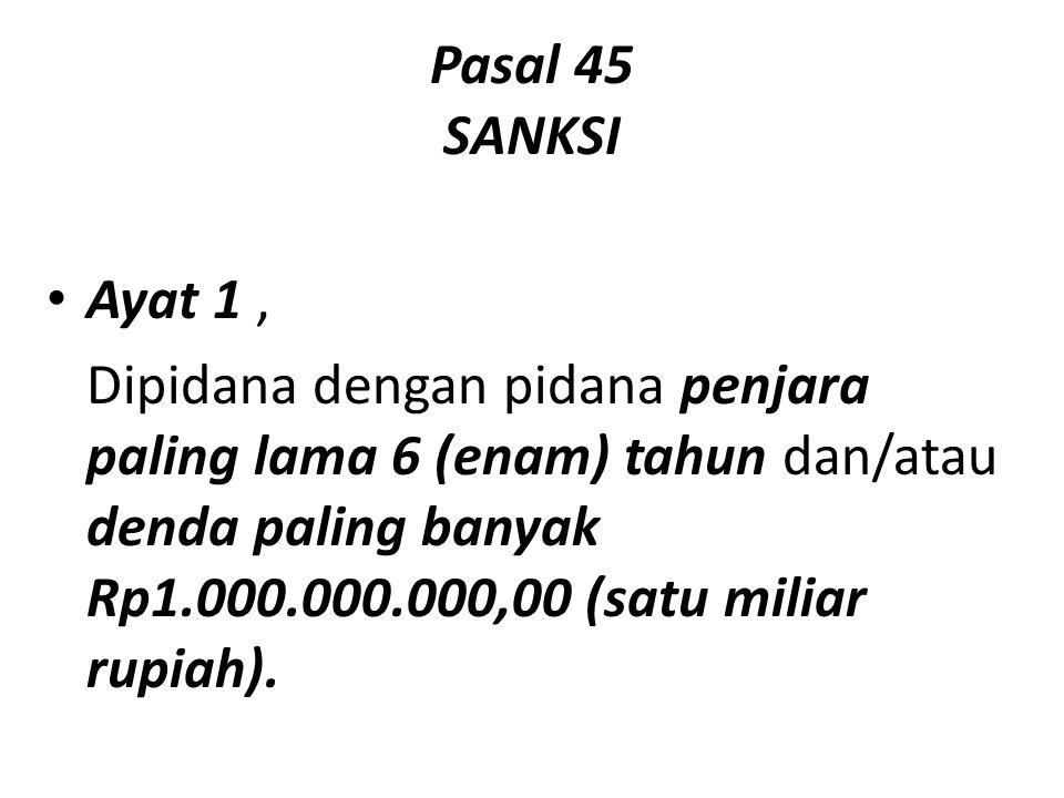Pasal 45 SANKSI Ayat 1 ,