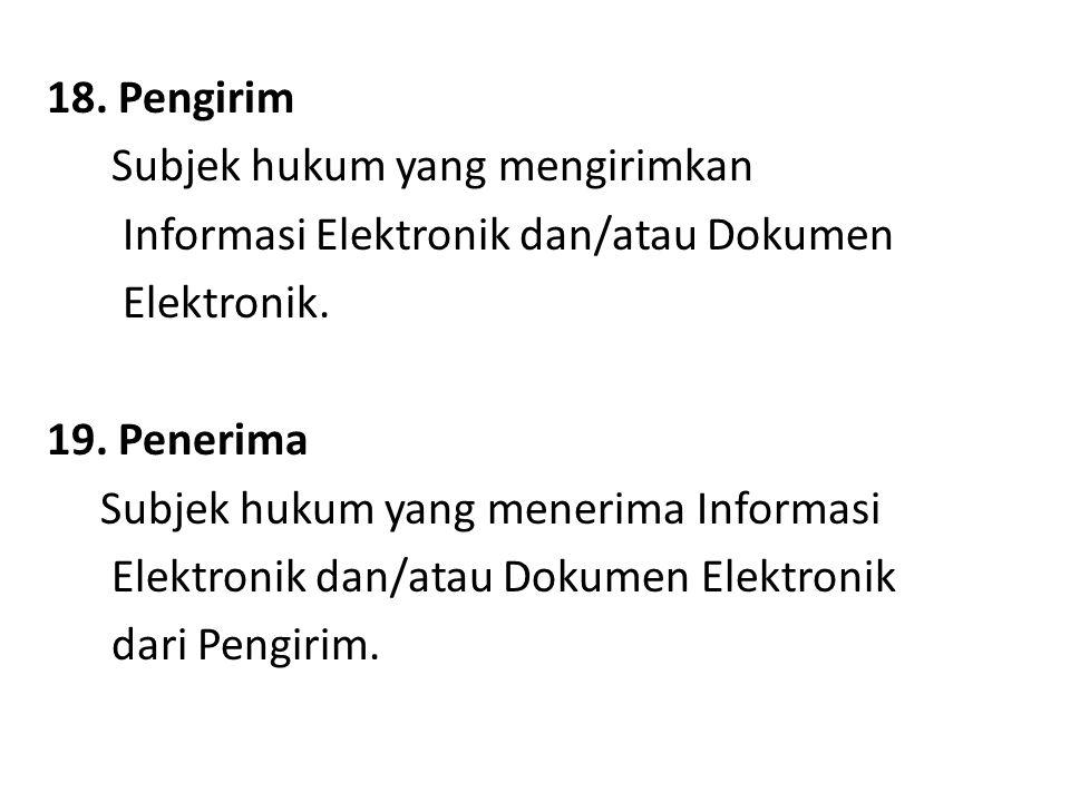 18. Pengirim Subjek hukum yang mengirimkan. Informasi Elektronik dan/atau Dokumen. Elektronik. 19. Penerima.