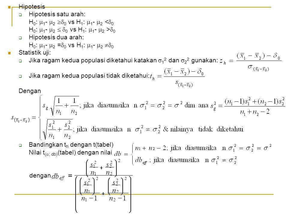 ÷ ø ö ç è æ - + = 1 n s db Hipotesis Hipotesis satu arah: