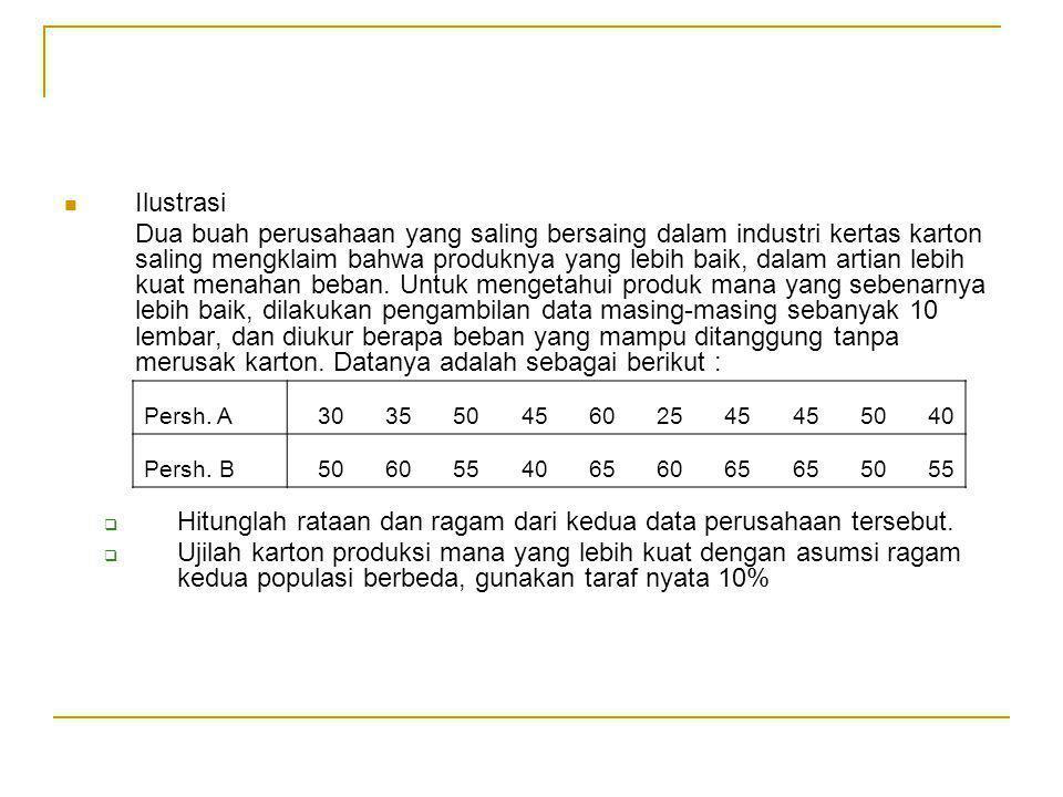 Hitunglah rataan dan ragam dari kedua data perusahaan tersebut.