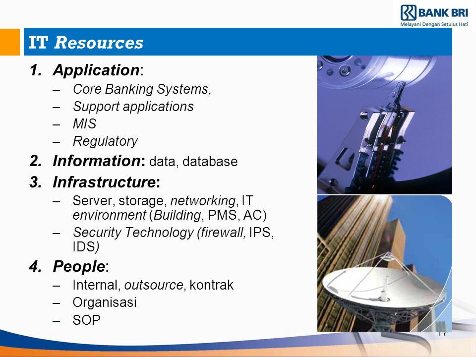 IT Resources Application: Information: data, database Infrastructure: