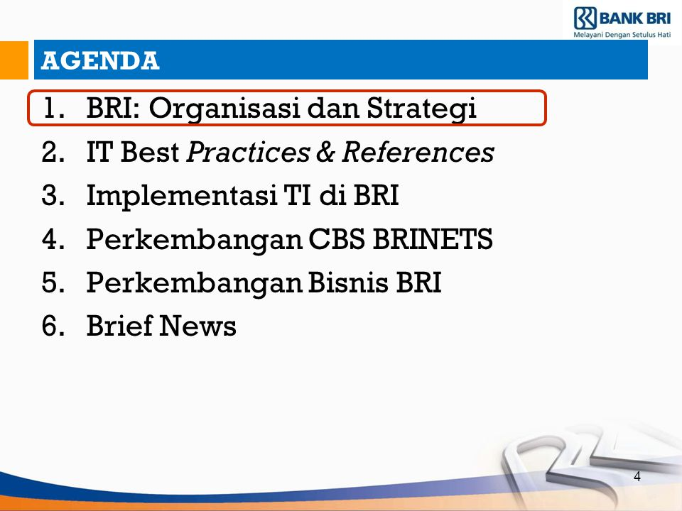BRI: Organisasi dan Strategi IT Best Practices & References