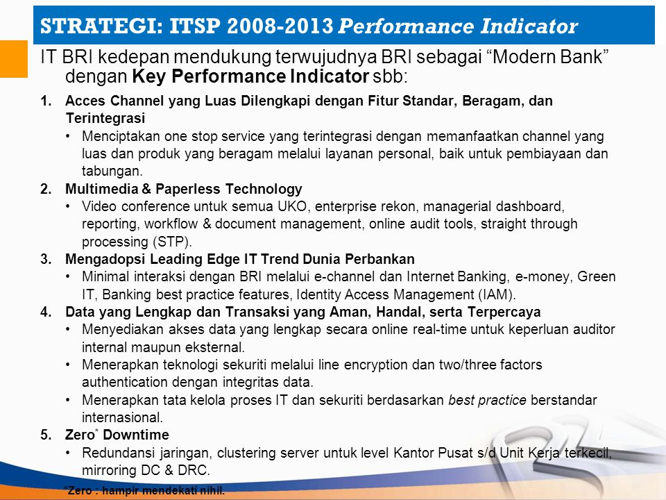 STRATEGI: ITSP 2008-2013 Performance Indicator