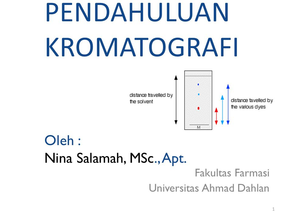PENDAHULUAN KROMATOGRAFI Oleh : Nina Salamah, MSc., Apt.