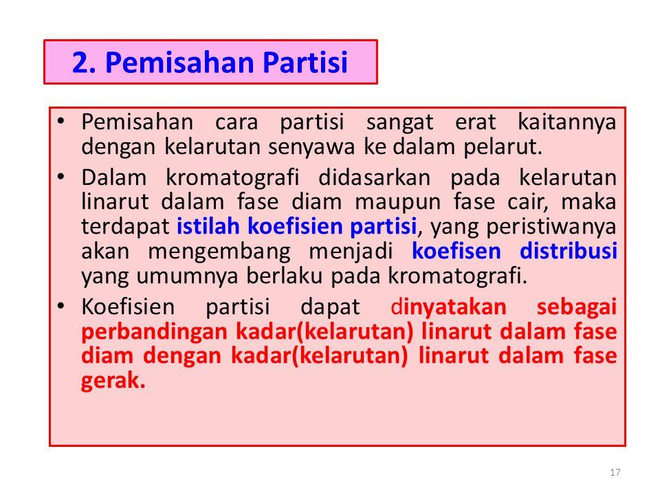 2. Pemisahan Partisi Pemisahan cara partisi sangat erat kaitannya dengan kelarutan senyawa ke dalam pelarut.