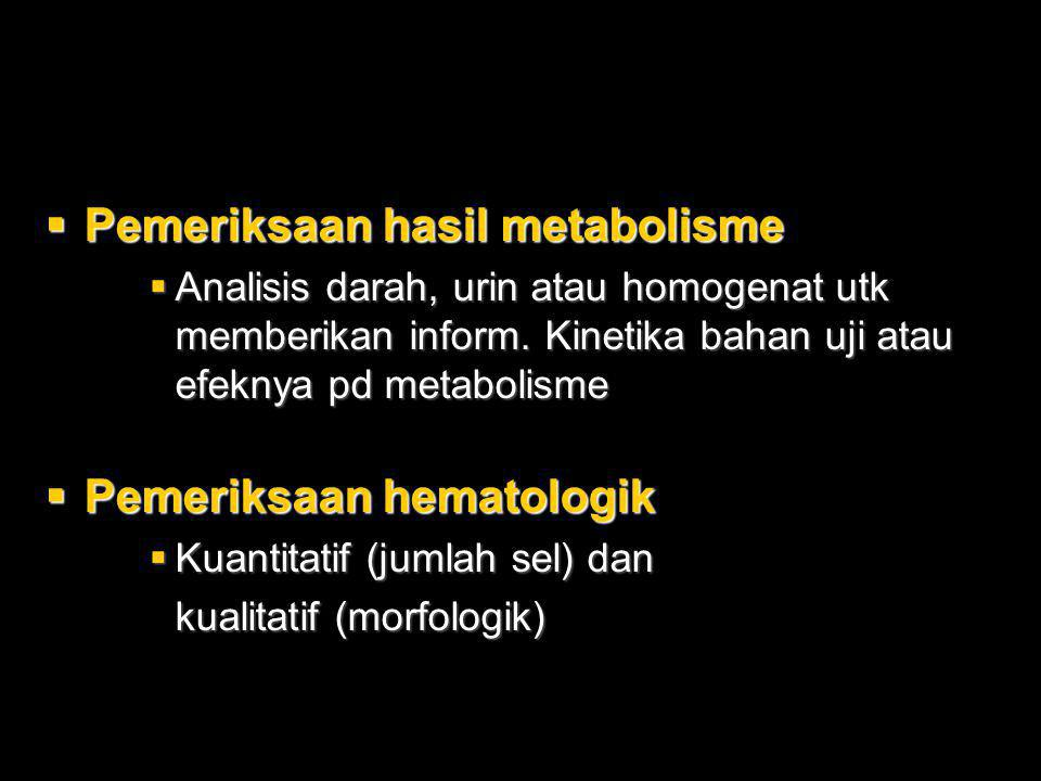 Pemeriksaan hasil metabolisme