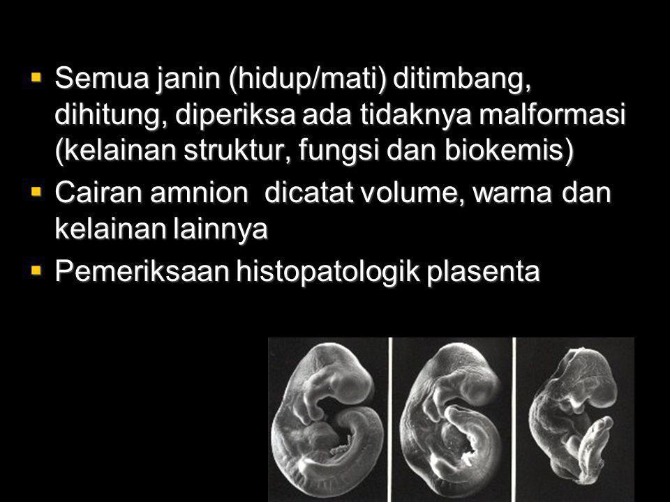Semua janin (hidup/mati) ditimbang, dihitung, diperiksa ada tidaknya malformasi (kelainan struktur, fungsi dan biokemis)