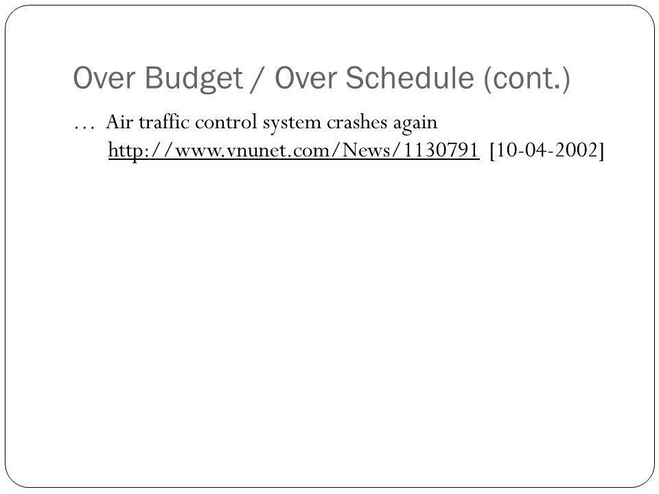 Over Budget / Over Schedule (cont.)