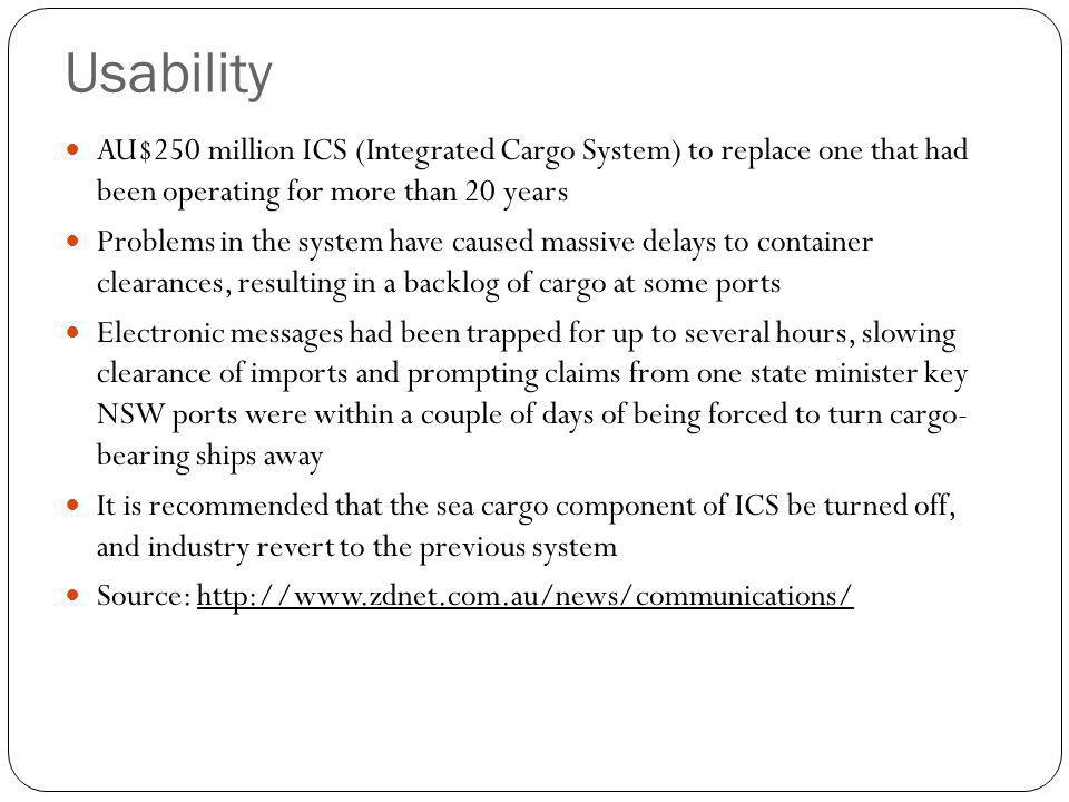 Usability AU$250 million ICS (Integrated Cargo System) to replace one that had been operating for more than 20 years.