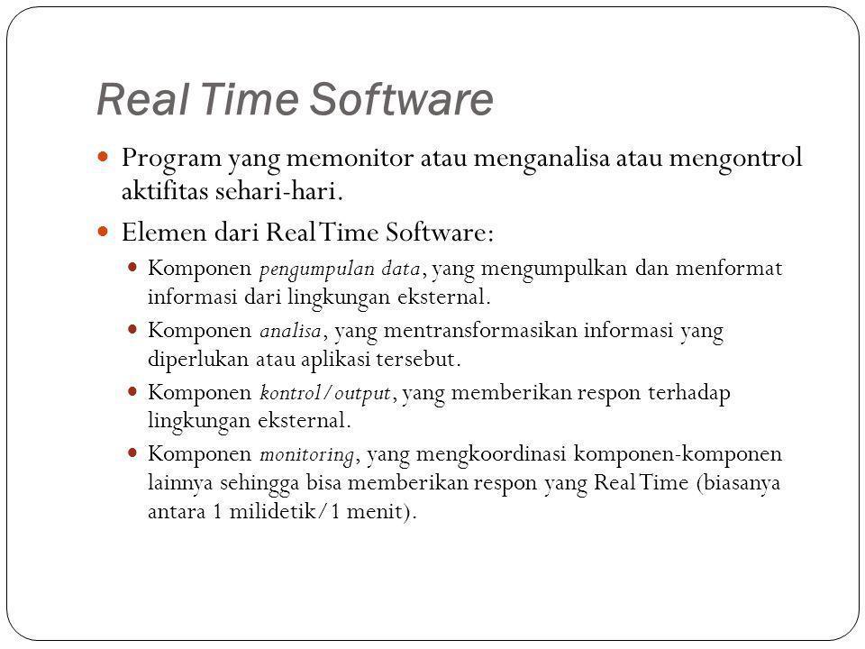 Real Time Software Program yang memonitor atau menganalisa atau mengontrol aktifitas sehari-hari. Elemen dari Real Time Software: