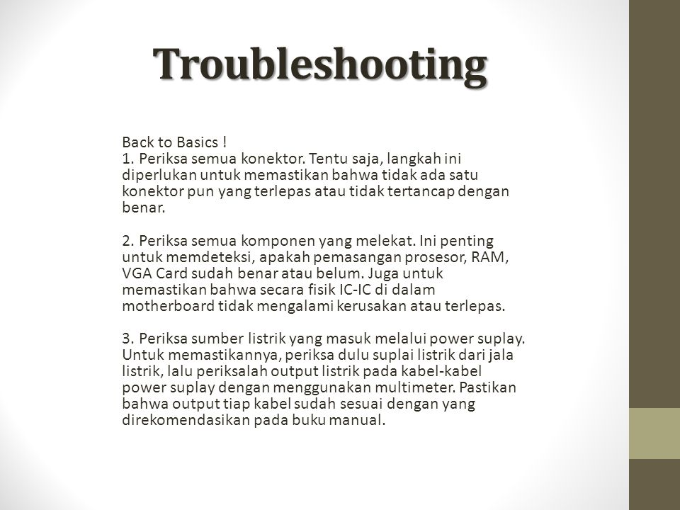 Troubleshooting Back to Basics !