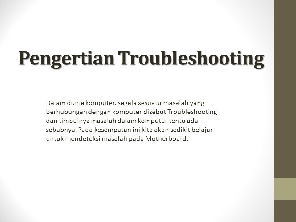Pengertian Troubleshooting