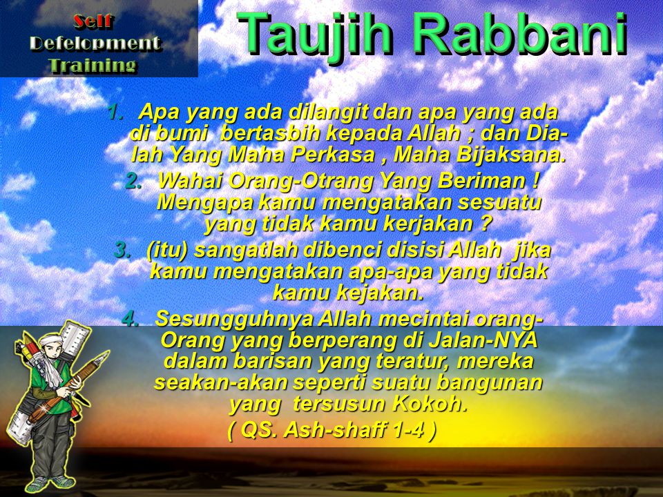 Taujih Rabbani Self. Defelopment. Training.