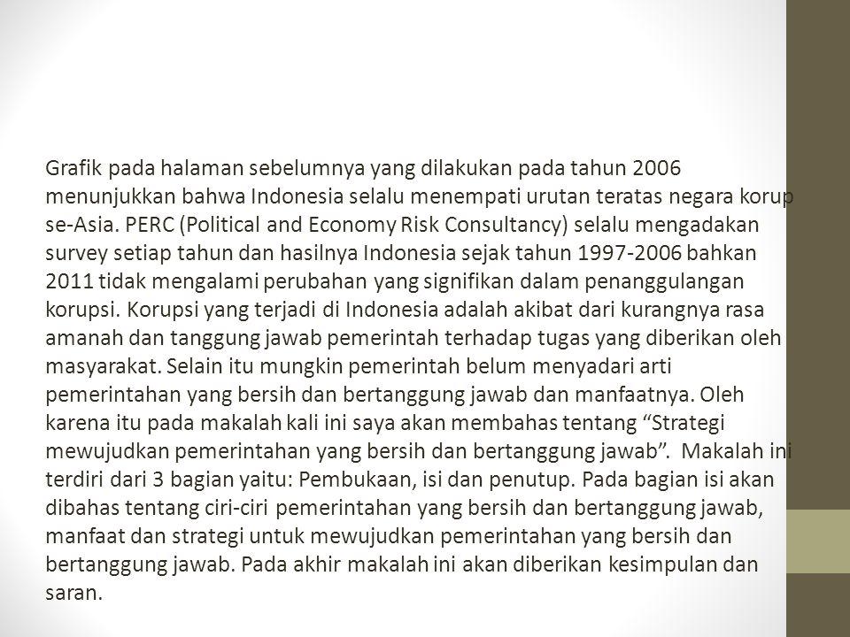 Grafik pada halaman sebelumnya yang dilakukan pada tahun 2006 menunjukkan bahwa Indonesia selalu menempati urutan teratas negara korup se-Asia.