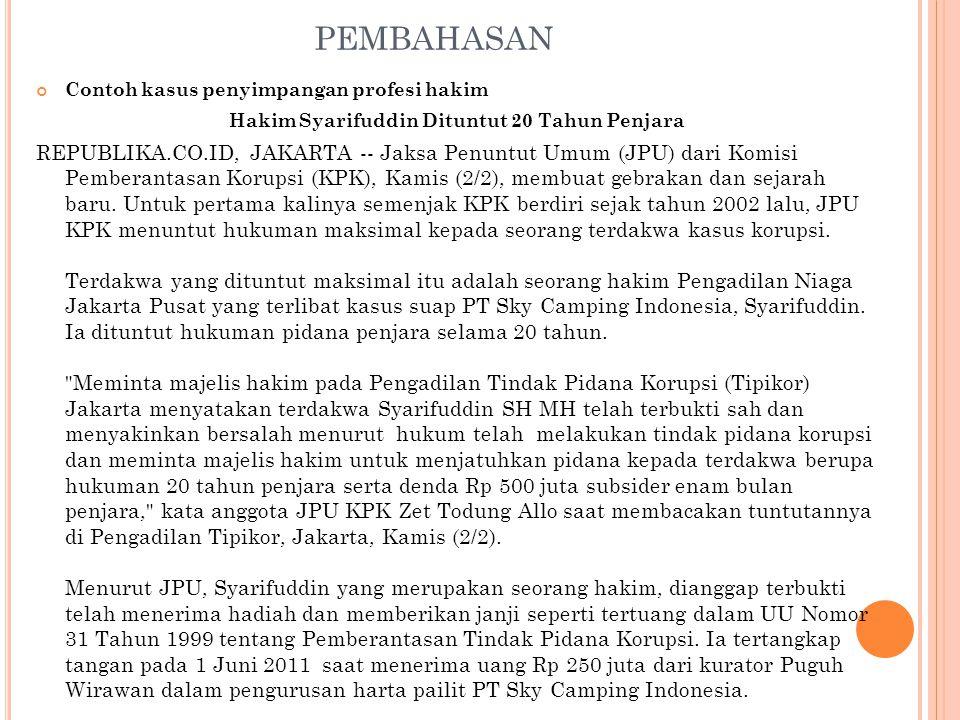 Hakim Syarifuddin Dituntut 20 Tahun Penjara