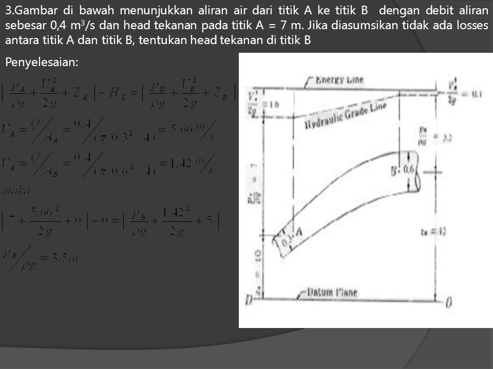 3.Gambar di bawah menunjukkan aliran air dari titik A ke titik B dengan debit aliran sebesar 0,4 m3/s dan head tekanan pada titik A = 7 m. Jika diasumsikan tidak ada losses antara titik A dan titik B, tentukan head tekanan di titik B
