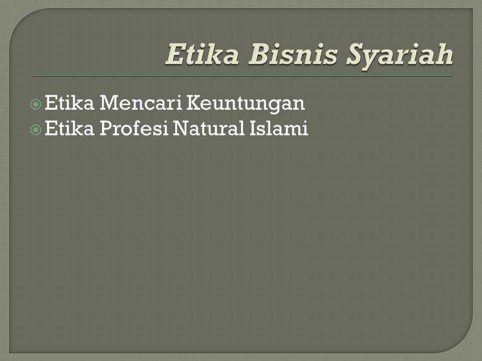 Etika Bisnis Syariah Etika Mencari Keuntungan