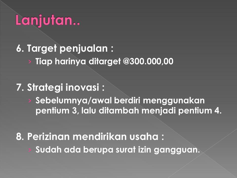 Lanjutan.. 6. Target penjualan : 7. Strategi inovasi :