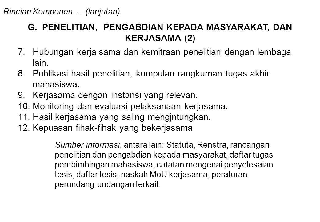 G. PENELITIAN, PENGABDIAN KEPADA MASYARAKAT, DAN KERJASAMA (2)