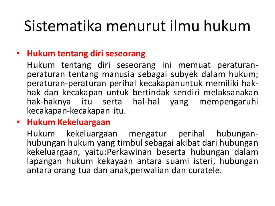Sistematika menurut ilmu hukum