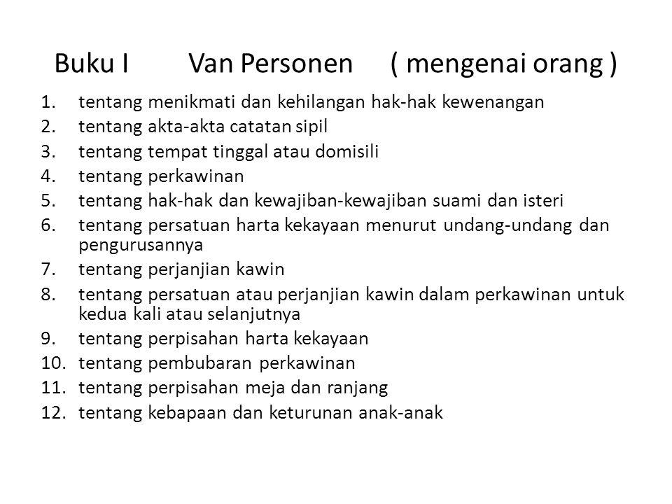 Buku I Van Personen ( mengenai orang )