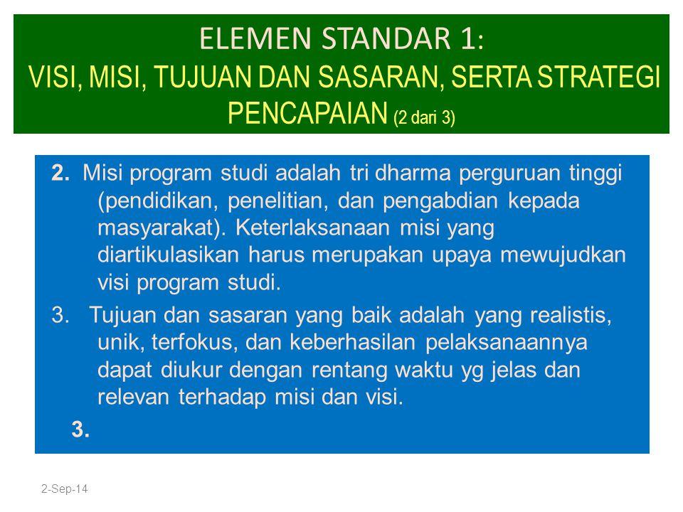 ELEMEN STANDAR 1: VISI, MISI, TUJUAN DAN SASARAN, SERTA STRATEGI PENCAPAIAN (2 dari 3)