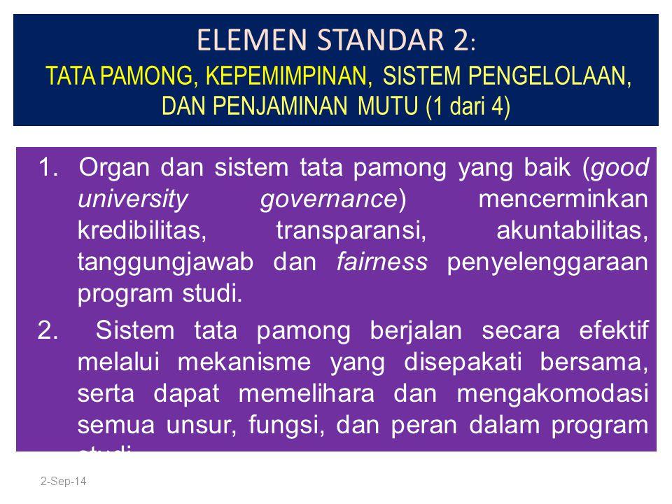 ELEMEN STANDAR 2: TATA PAMONG, KEPEMIMPINAN, SISTEM PENGELOLAAN, DAN PENJAMINAN MUTU (1 dari 4)