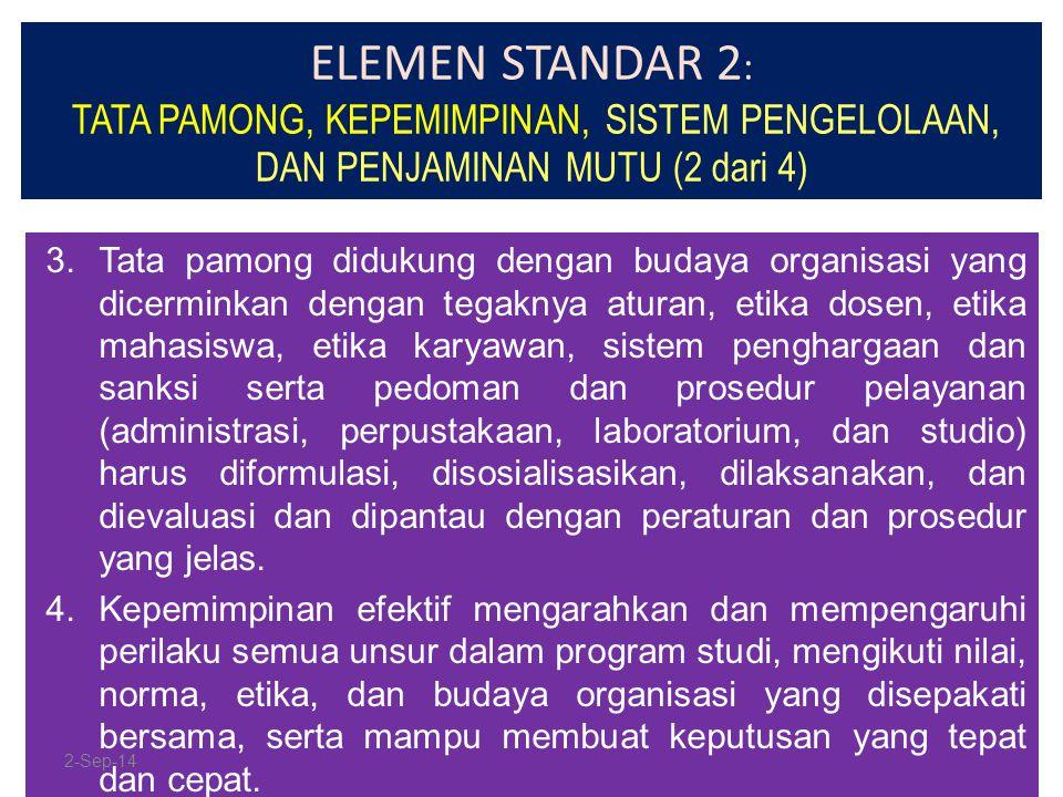 ELEMEN STANDAR 2: TATA PAMONG, KEPEMIMPINAN, SISTEM PENGELOLAAN, DAN PENJAMINAN MUTU (2 dari 4)