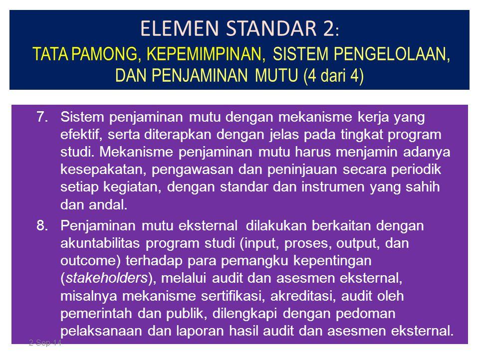ELEMEN STANDAR 2: TATA PAMONG, KEPEMIMPINAN, SISTEM PENGELOLAAN, DAN PENJAMINAN MUTU (4 dari 4)