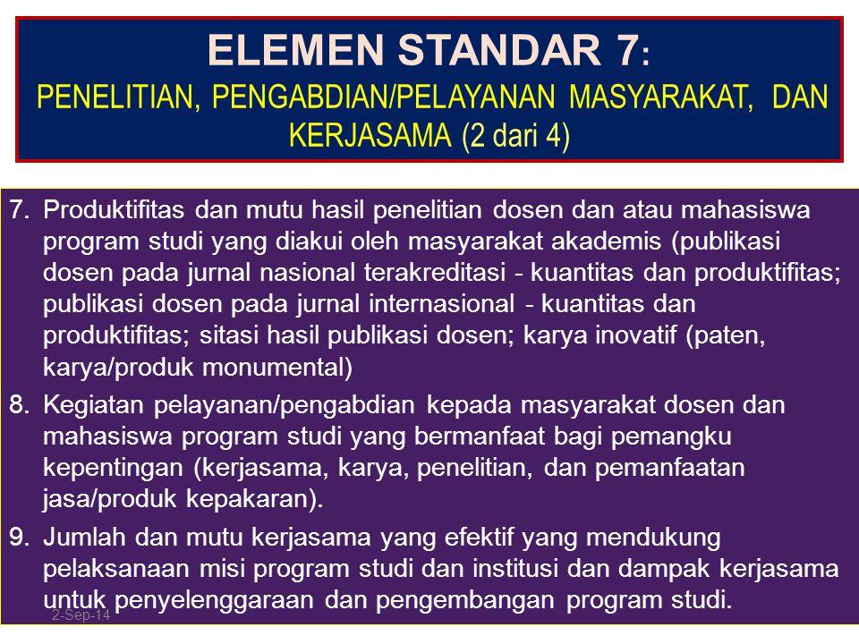 ELEMEN STANDAR 7: PENELITIAN, PENGABDIAN/PELAYANAN MASYARAKAT, DAN KERJASAMA (2 dari 4)