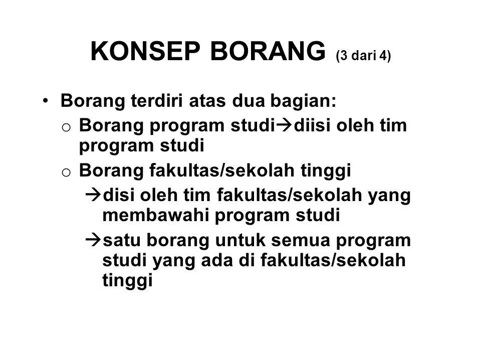 KONSEP BORANG (3 dari 4) Borang terdiri atas dua bagian: