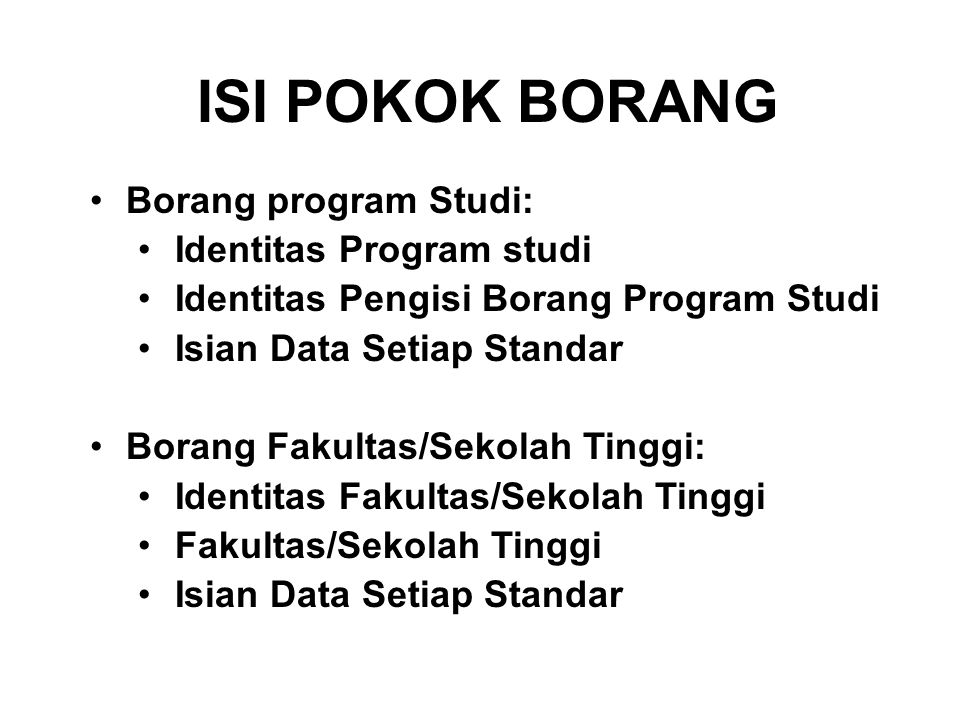 ISI POKOK BORANG Borang program Studi: Identitas Program studi