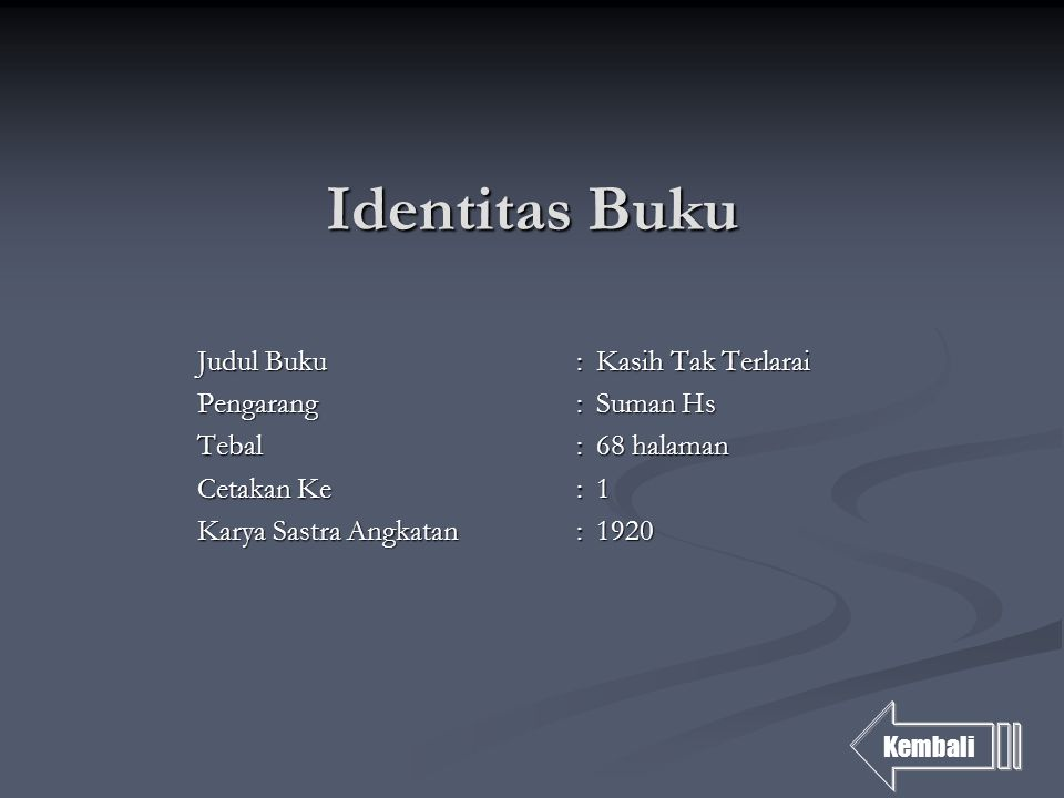 Identitas Buku Judul Buku : Kasih Tak Terlarai Pengarang : Suman Hs