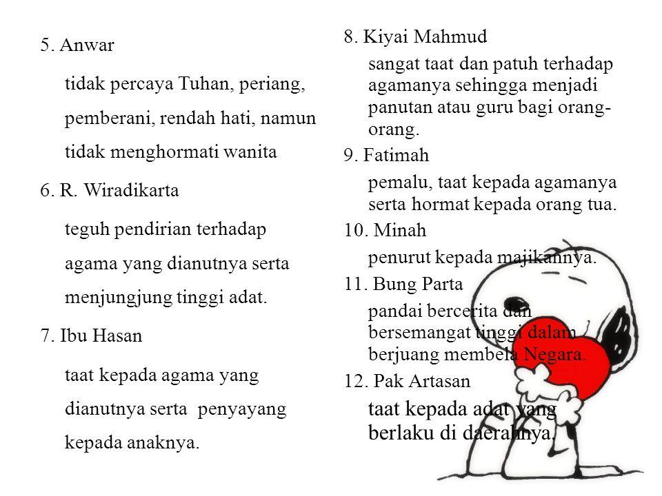 5. Anwar tidak percaya Tuhan, periang, pemberani, rendah hati, namun tidak menghormati wanita 6. R. Wiradikarta teguh pendirian terhadap agama yang dianutnya serta menjungjung tinggi adat. 7. Ibu Hasan taat kepada agama yang dianutnya serta penyayang kepada anaknya.
