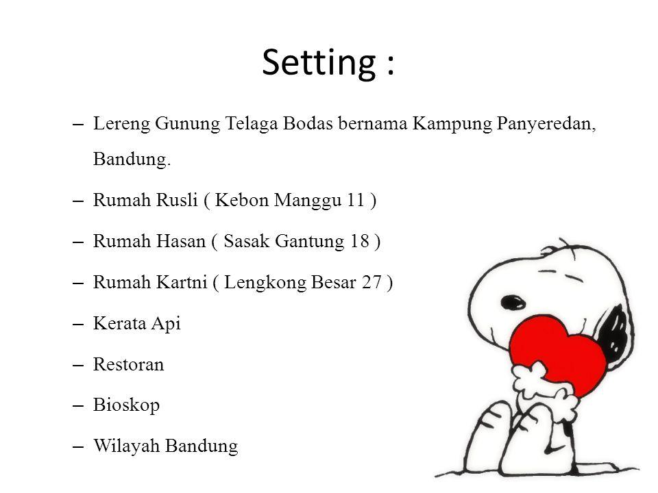 Setting : Lereng Gunung Telaga Bodas bernama Kampung Panyeredan, Bandung. Rumah Rusli ( Kebon Manggu 11 )